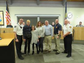 From Left to Right: EMS Supervisor Lenny Brown, UPT BOS Chair Laurie Higgins, The Felder Family, Medical Director Bert Schiffer, Director of EMS George Gilliano (Photo courtesy of Upper Providence Township)