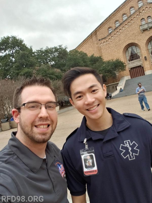 EMS Supervisor Lenny Brown networking with Longhorn EMS Chief Anthony Liu