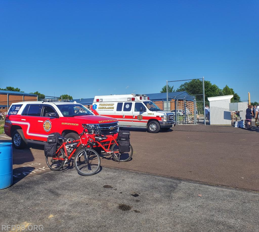 MICU 325-4 along with the EMS Bike Team staged just inside the main gate of the stadium.