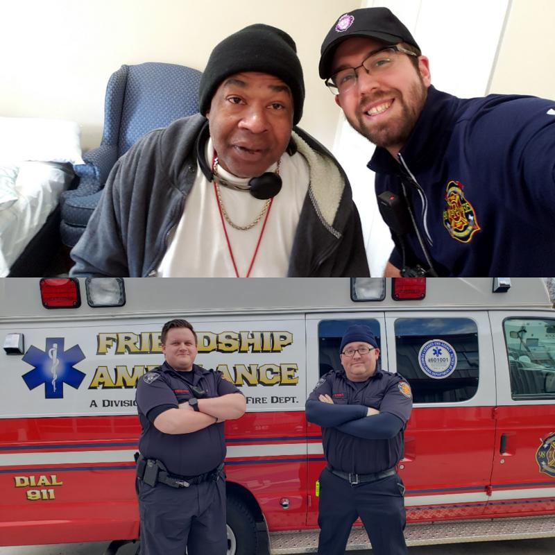 Top Left to Right: Anthony Brown & EMS Supervisor Lenny Brown.  Bottom Left to Right: Paramedic JP Mensack & AEMT James Weber
