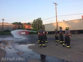 Crews practicing hose line advancements