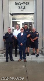 Pictured from left to right: Chief of Police Tom Nerlinger, Royersford Borough Fire Marshal Craig Keffer, Royersford PD Officer Dan Miller, EMS Supervisor Matt Wagner, & Director of EMS George Gilliano